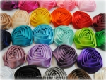 Two Inch Rolled Satin Rosette Buds