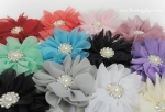 Large Scalloped Ballerina Twirl Flowers w/ Pearl and Rhinestone