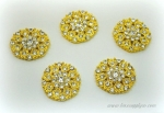 Gold Rhinestone Embellishments 23mm x 20mm with a Flat Back