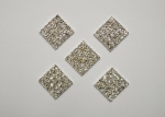 15.5 mm Square Metal Rhinestone Embellishments - Flatback