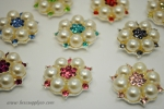 26mm Pearl and Rhinestone Embellishments - Flatback - Your choice of color for the stones!