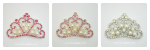 LARGE Glamorous Rhinestone and Pearl CROWN Embellishments with Pink Rhinestones- 51mm x 35mm Crown
