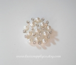 25mm Stunning Rhinestone & Pearl Buttons - Flat back