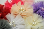 Shabby PETITE Ballerina Flowers with Rhinestone and Pearl Center